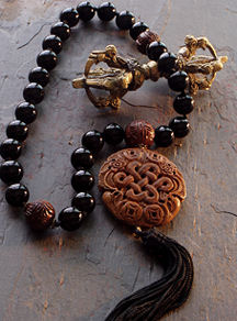 Black Onyx Hand Mala with Wooden  Endless Knot