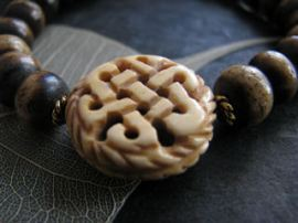 Dark Bone Bracelet Mala with Bone Endless Knot